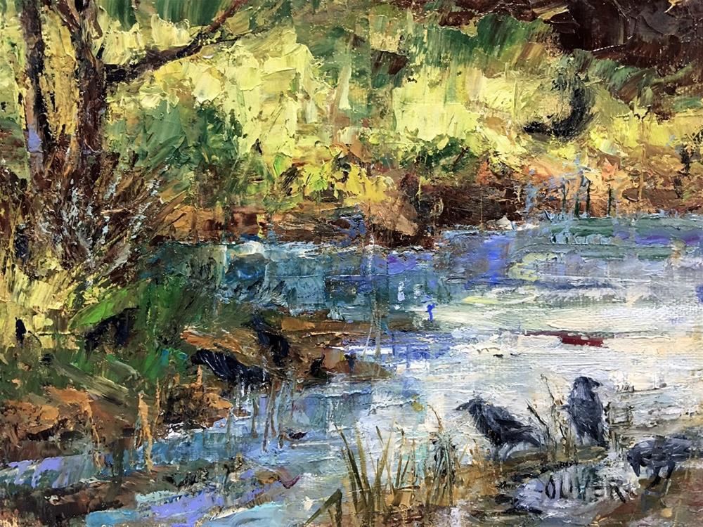 """""""Ravens At The Pond"""" original fine art by Julie Ford Oliver"""