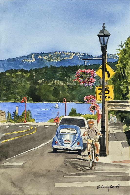 """""""Main Street McCall"""" original fine art by Andy Sewell"""