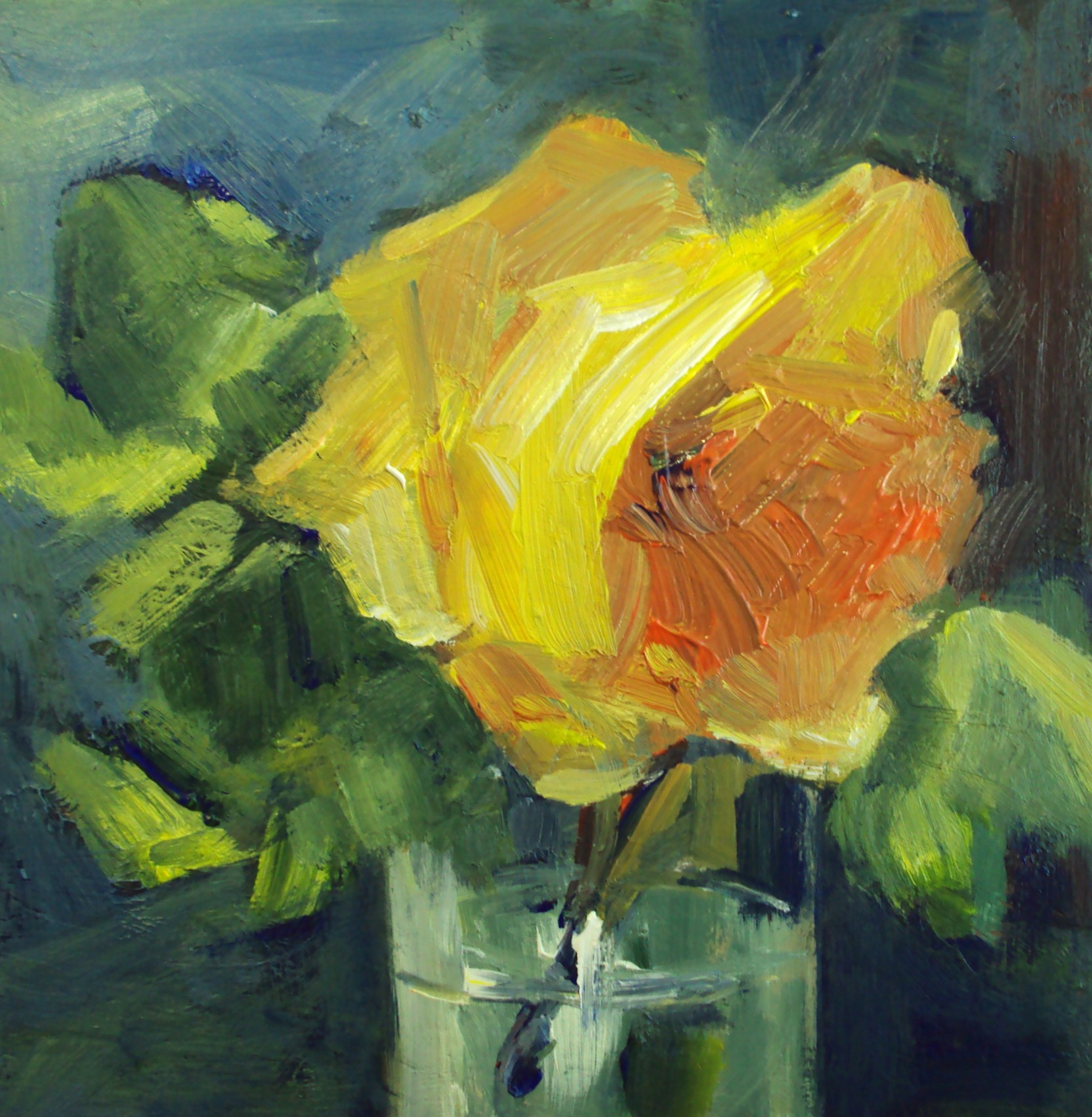 """yellow rose in a glass"" original fine art by Parastoo Ganjei"