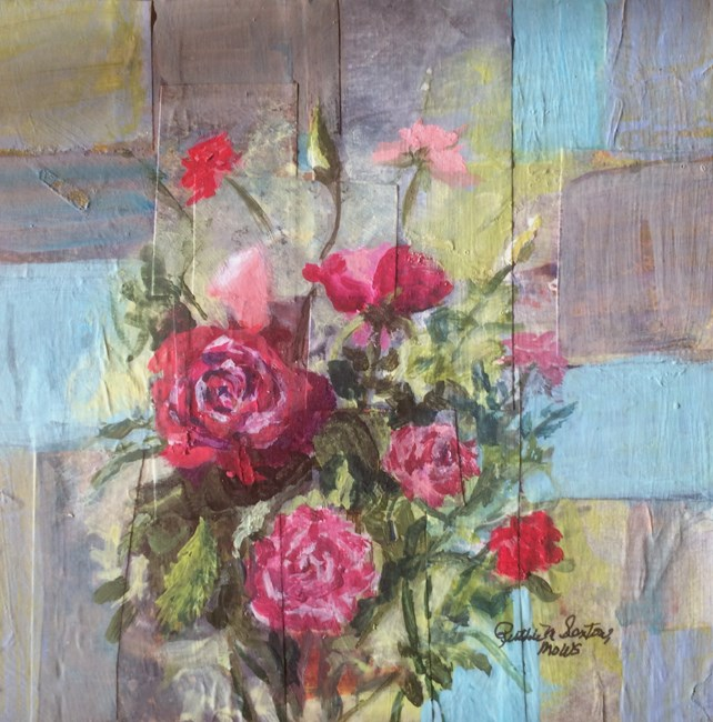 """""""Roses on Blue"""" original fine art by Ruthie Sexton"""