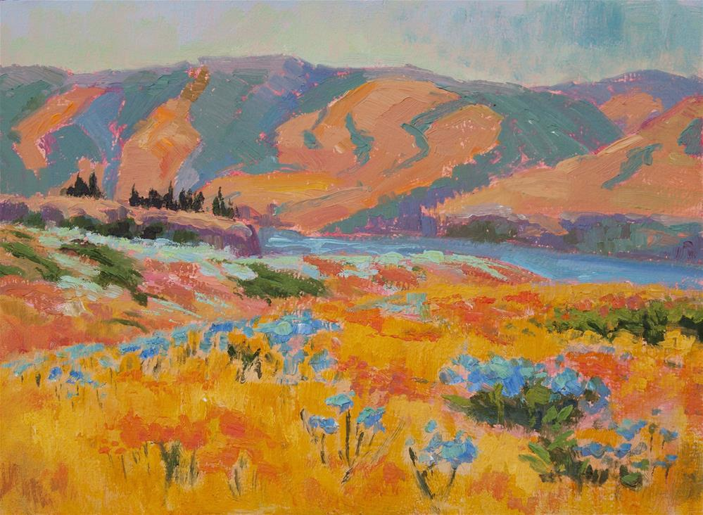 """BACHELOR'S BUTTONS AT ROWENA CREST"" original fine art by Karen E Lewis"