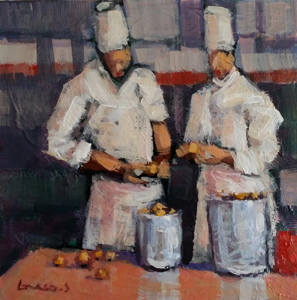 """chef at work #1"" original fine art by salvatore greco"