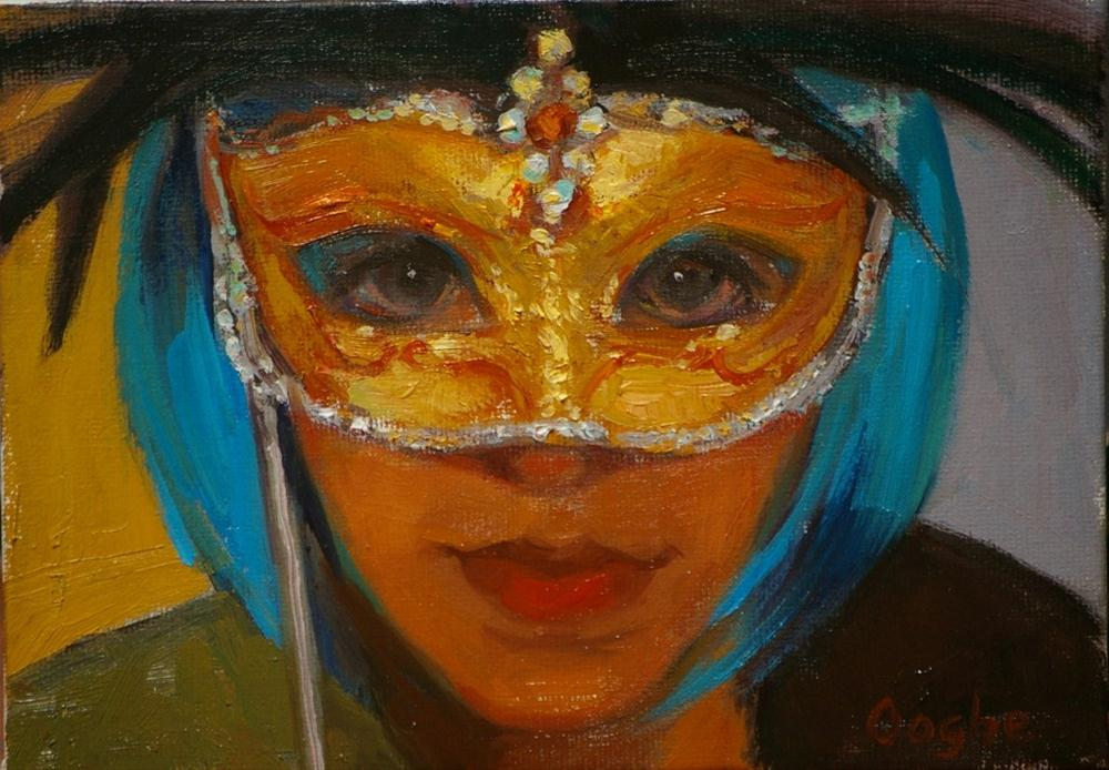 """Mardi Gras Mask"" original fine art by Angela Ooghe"