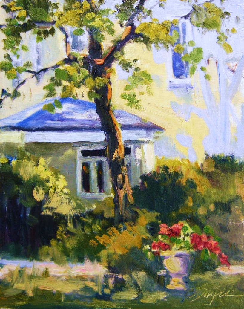 """Twisted Tree, New Orleans Garden Tour"" original fine art by Connie Snipes"