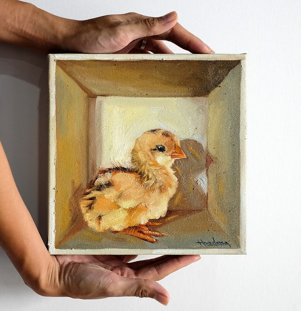 """Chick in the box IV"" original fine art by Haze Long"