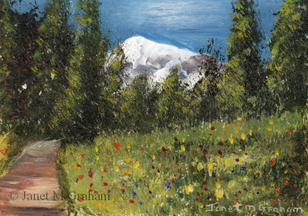 """Spring Mountain ACEO"" original fine art by Janet Graham"