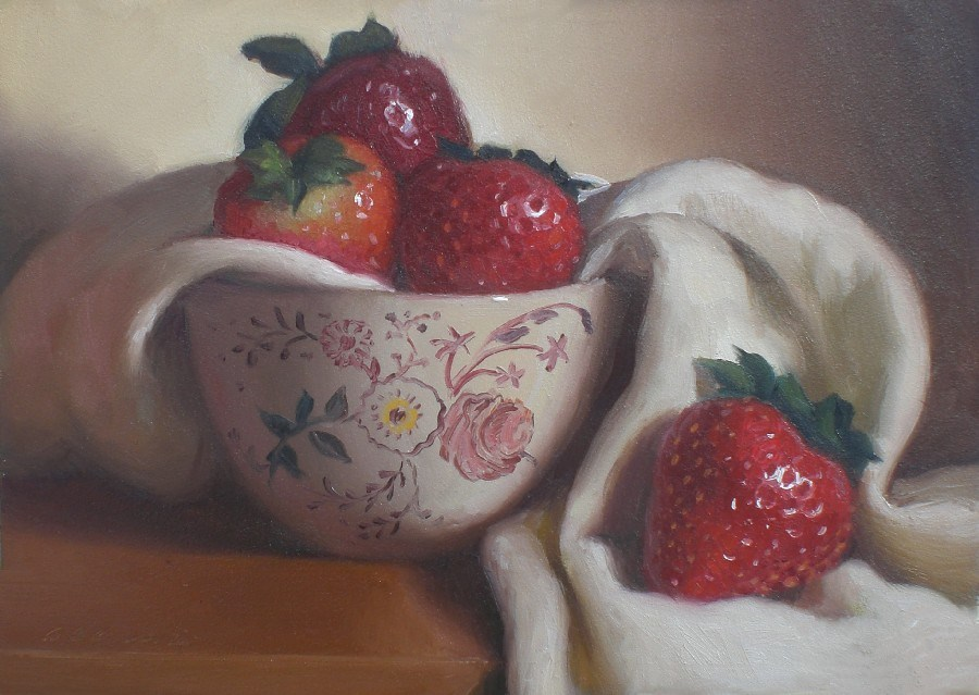 """Tea Cup and Strawberries"" original fine art by Debra Becks Cooper"