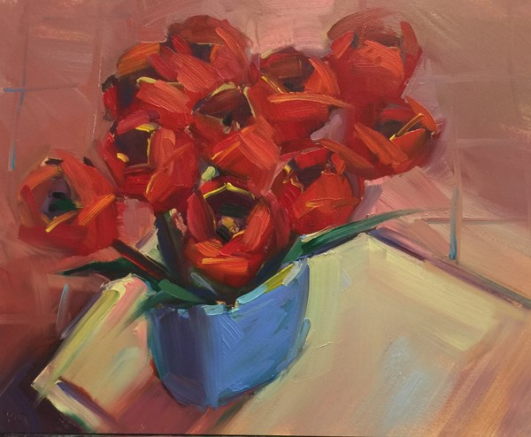 """Norma's Vase and Red Tulips"" original fine art by Patti McNutt"