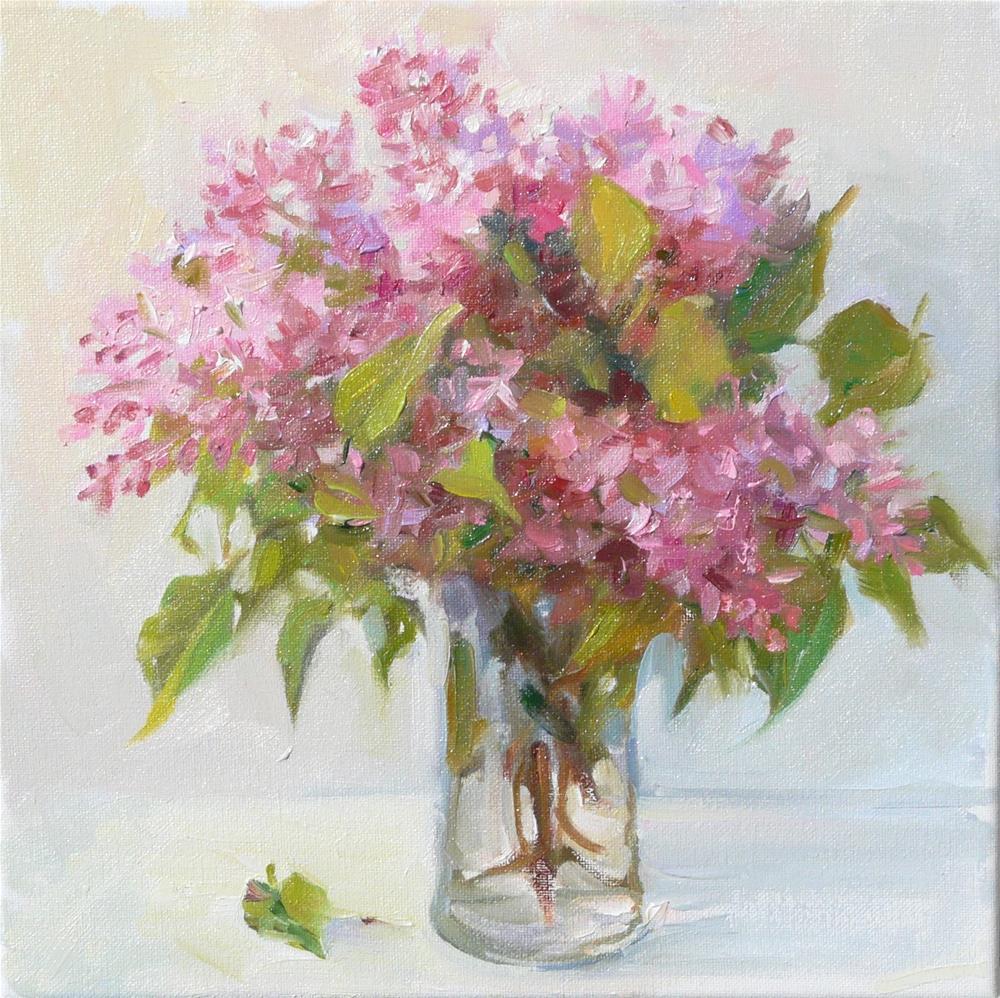 """Lilac Flowers,still life,oil on canvas,12x12,price$375"" original fine art by Joy Olney"