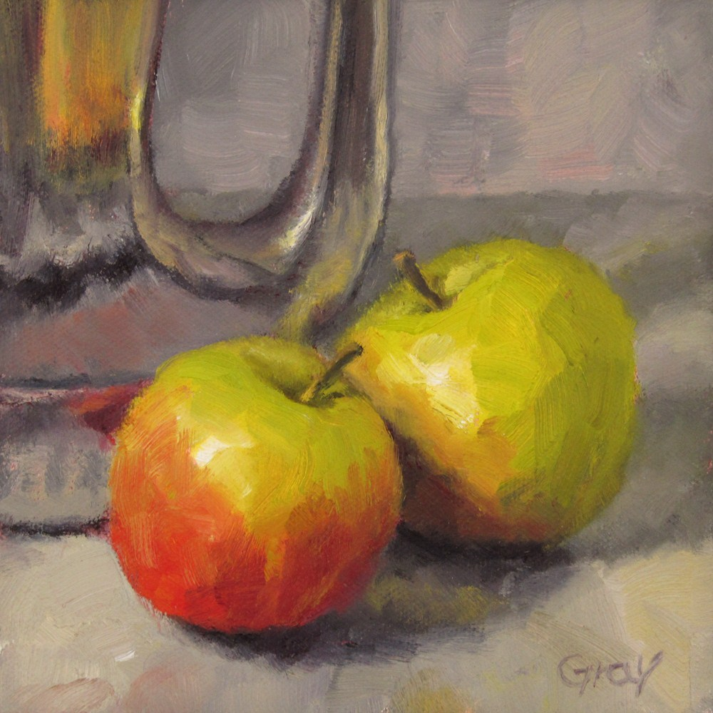 """Green-Red Apples with Silver Pot"" original fine art by Naomi Gray"