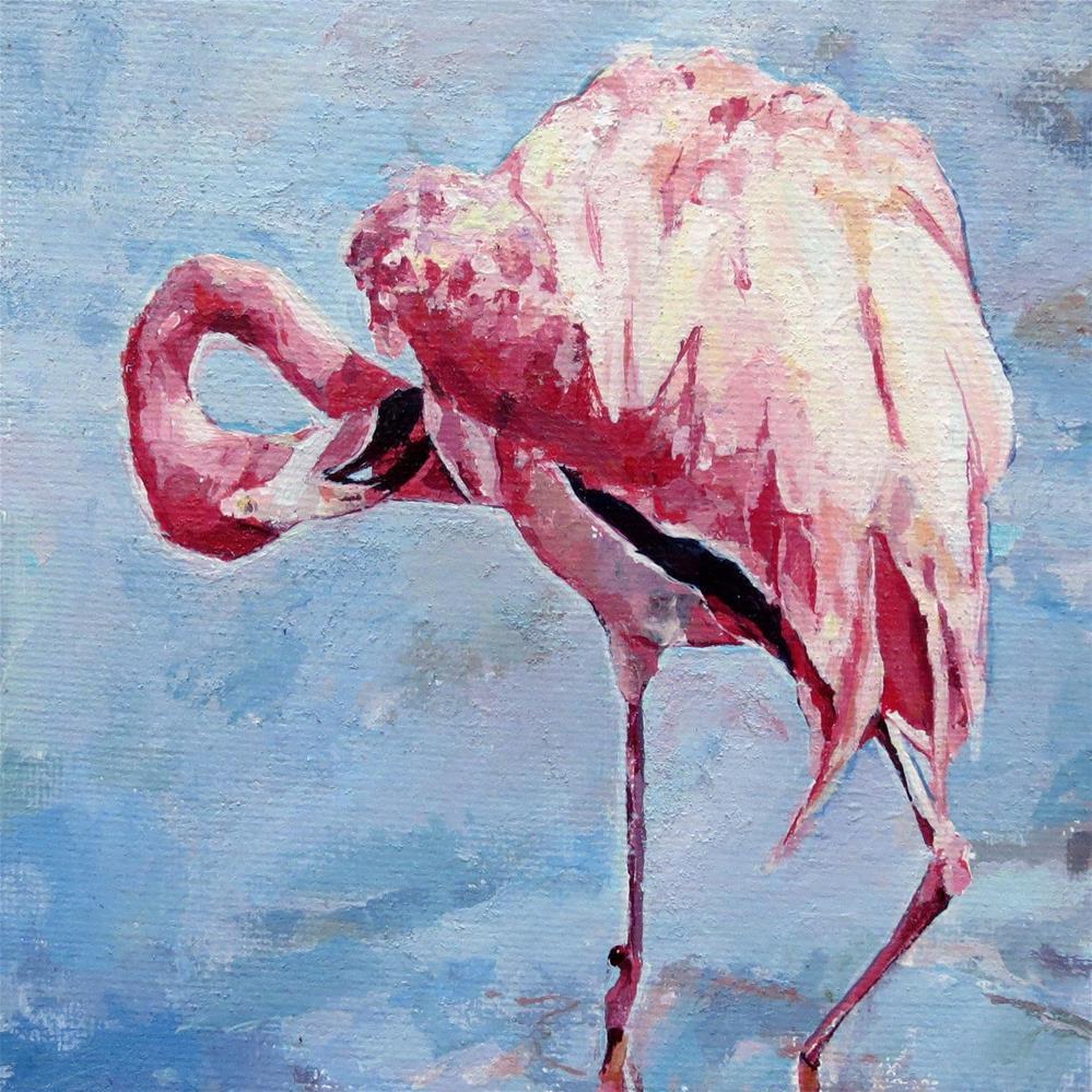 """Flamingo Ballerina"" original fine art by Nava Judith"