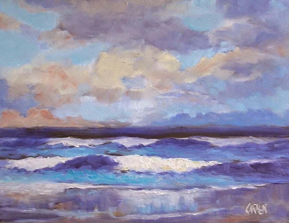 """By the Sea, Seascape,Oil on Canvas panel,10x8"" original fine art by Carmen Beecher"