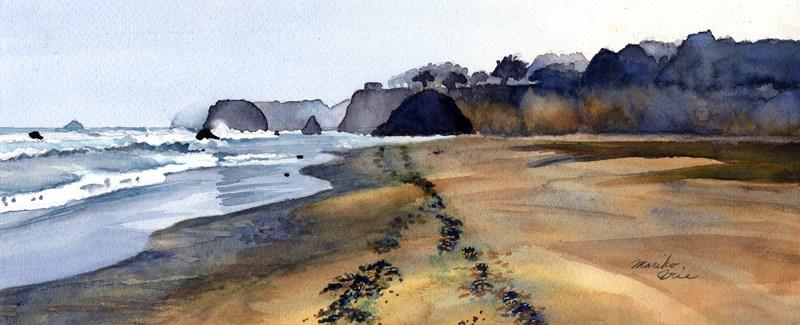 """Morning Walk at Seaside Beach"" original fine art by Mariko Irie"