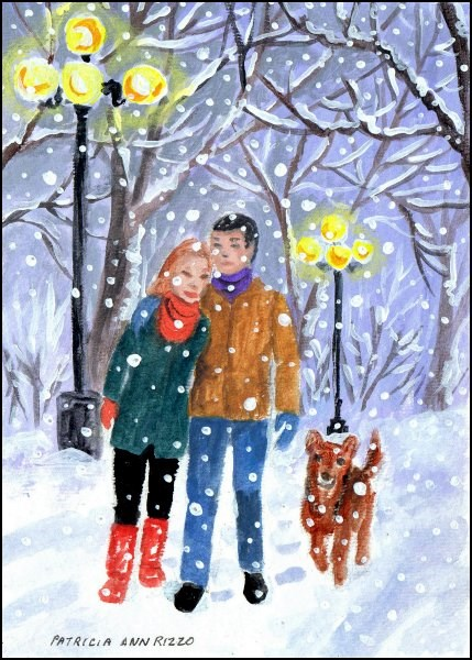 """Walking Home in the Snow"" original fine art by Patricia Ann Rizzo"