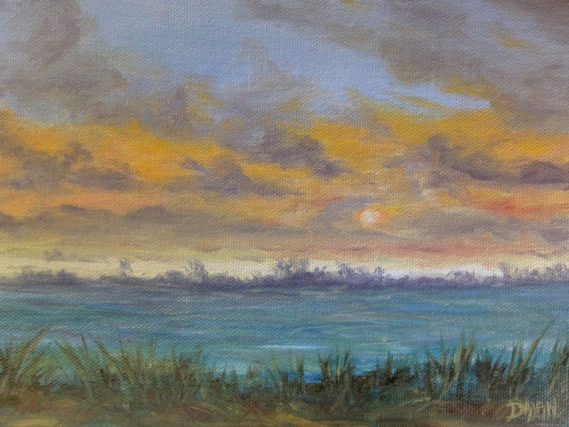 """Sunrise Over Nuupia Ponds Bird Sanctuary Hawaii"" original fine art by Dalan Wells"