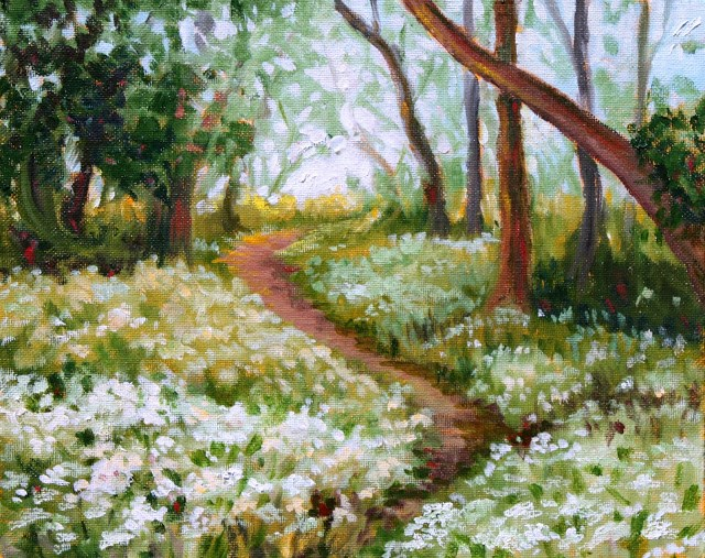 """Path through the wildflowers"" original fine art by Hilary J. England"