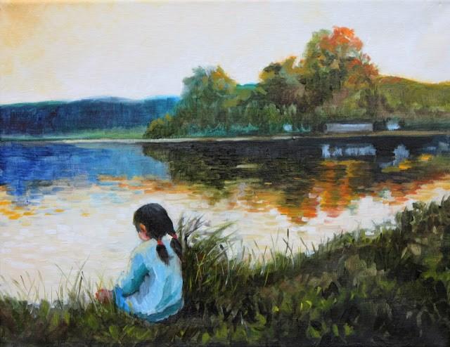 """Visible shore"" original fine art by Hilary J. England"