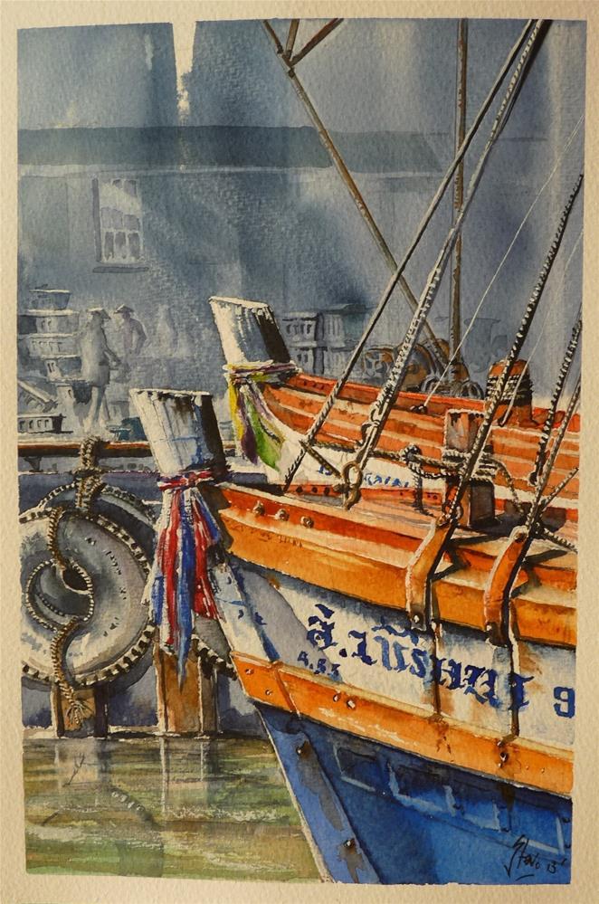 """Phuket Boats"" original fine art by Martin Stephenson"