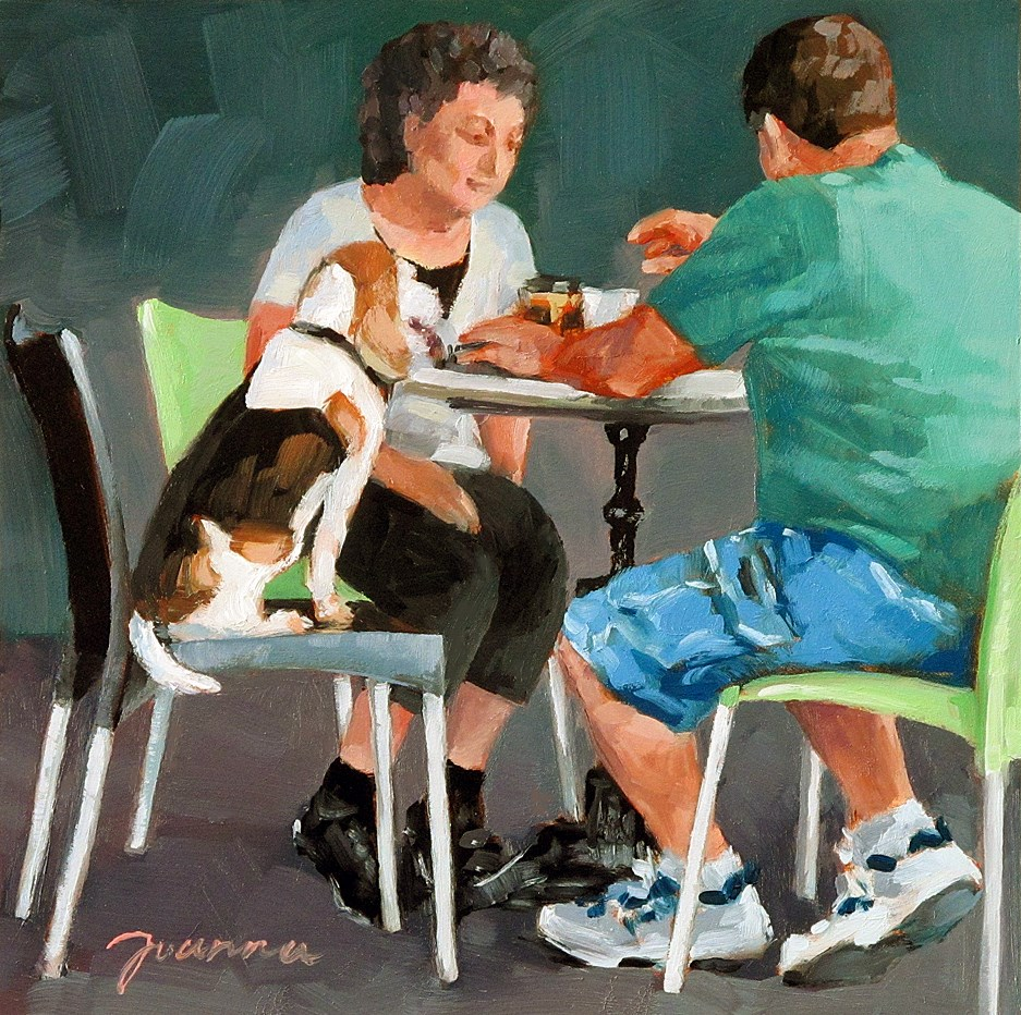 """At Coffee Break--Series Painting of Dog & Owners"" original fine art by Joanna Bingham"