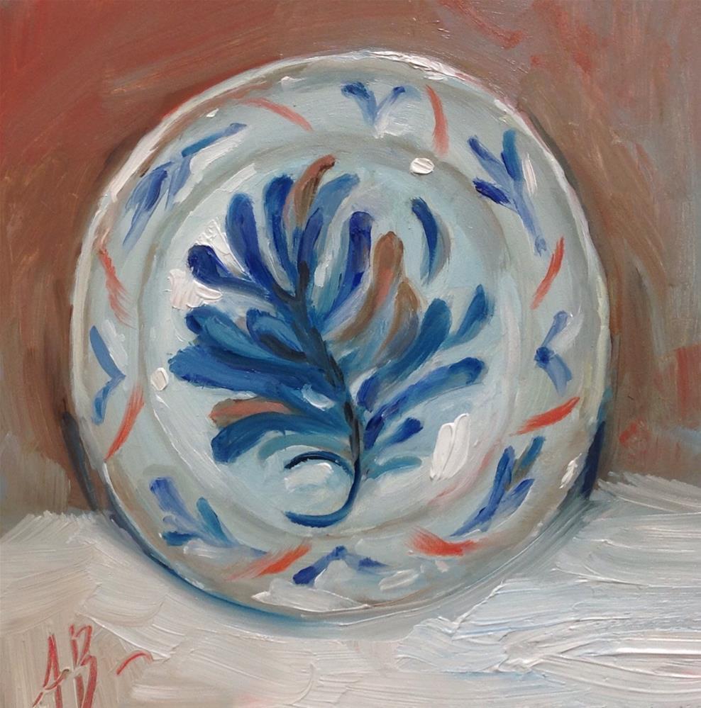"""Old Blue Dinner Plate"" original fine art by Annette Balesteri"