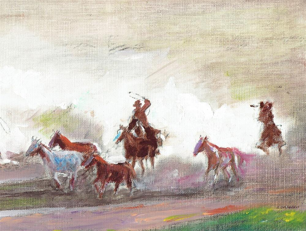 """The Wild Horse [Series #3] (5 x 7 oil on canvas sheet - no frame)"" original fine art by Ramon DelRosario"