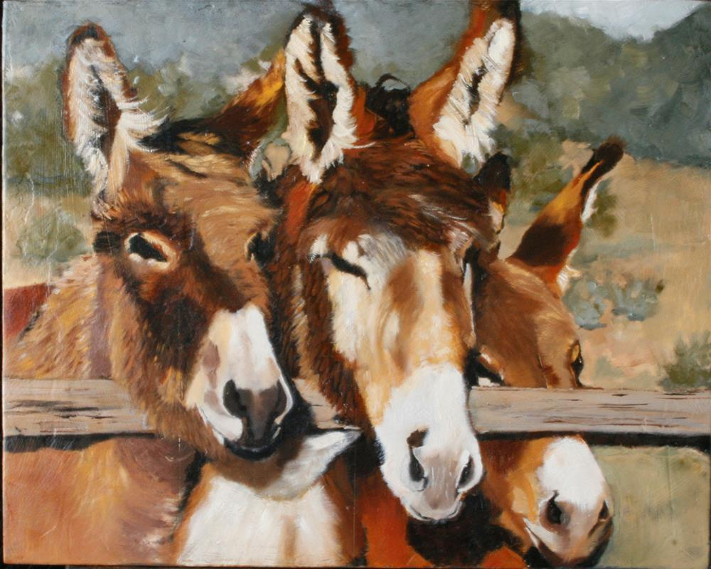 """Tres Amigos, Dos"" original fine art by Leslie Miller"