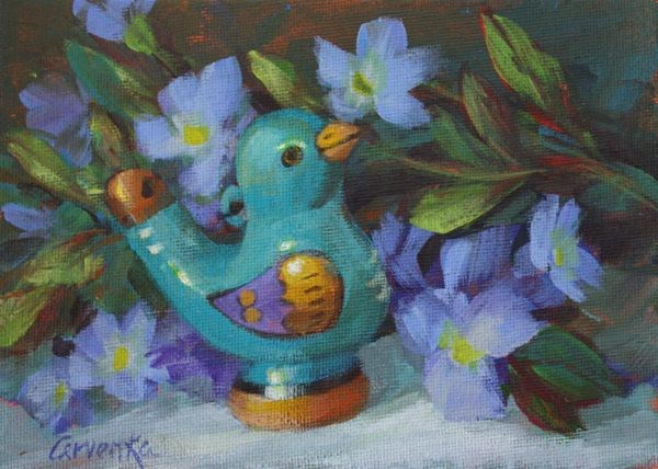 """Tweet"" original fine art by Sue Cervenka"