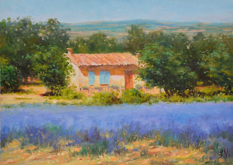 """Landscape of Provence - Cottage at the edge of lavender field"" original fine art by Nick Sarazan"