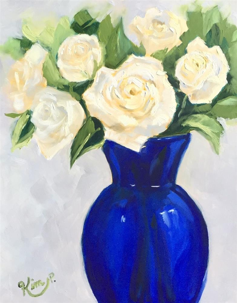 """White Roses in Cobalt Blue Vase"" original fine art by Kim Peterson"