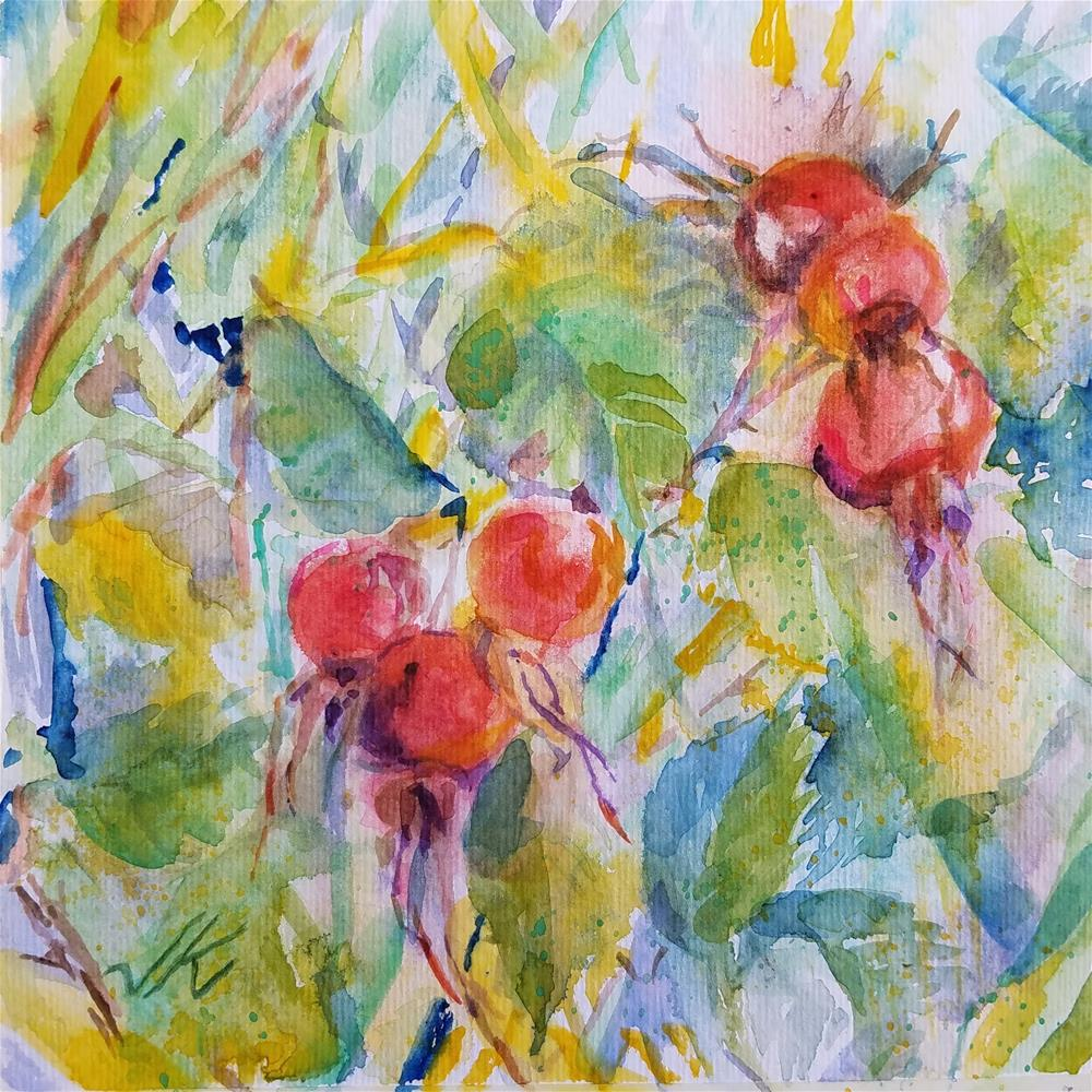 """Rose Hips"" original fine art by Jean Krueger"