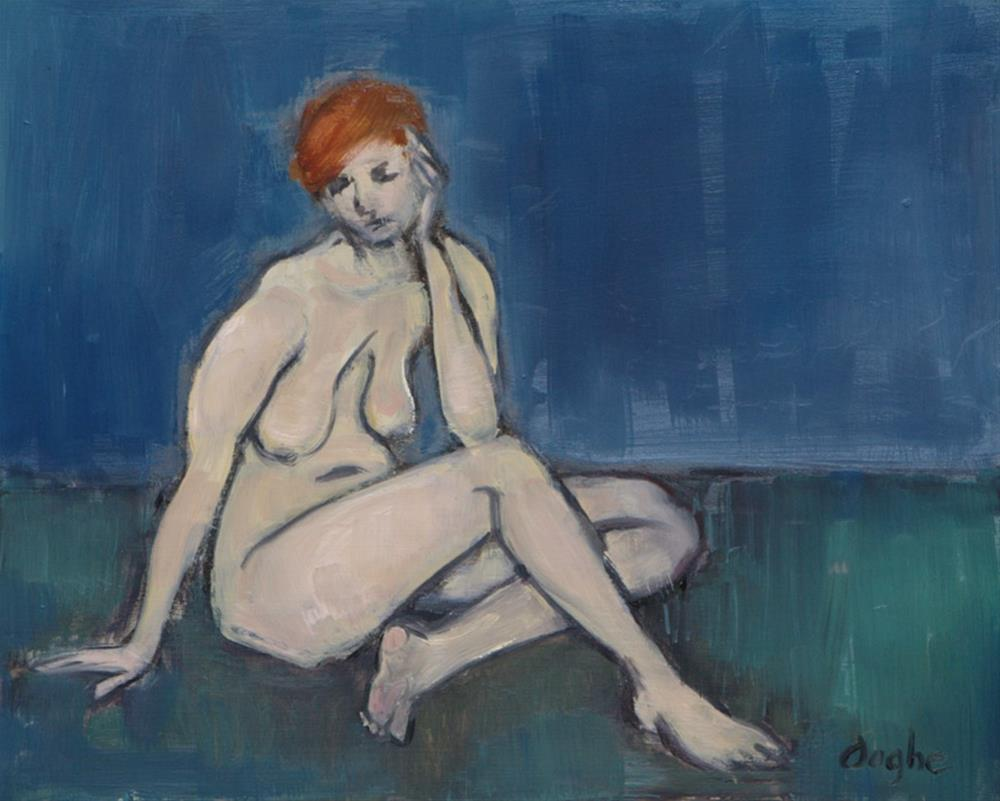 """Nude on Green Carpet"" original fine art by Angela Ooghe"