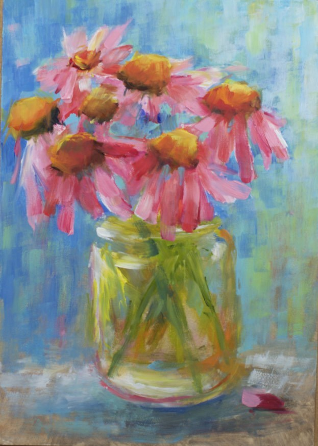 """Coneflowers in Mason Jar"" original fine art by Sue Churchgrant"