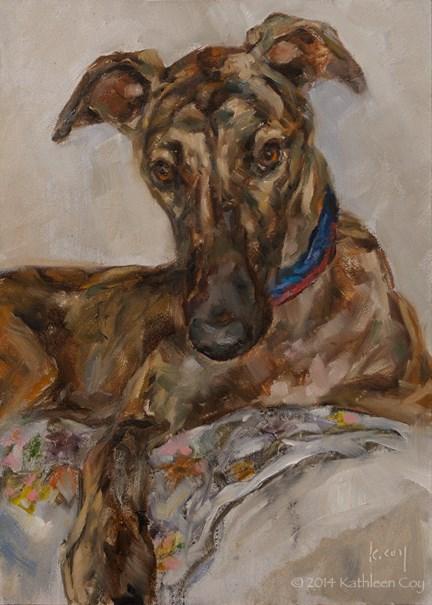 """""""Day 2 - Greyhound"""" original fine art by Kathleen Coy"""