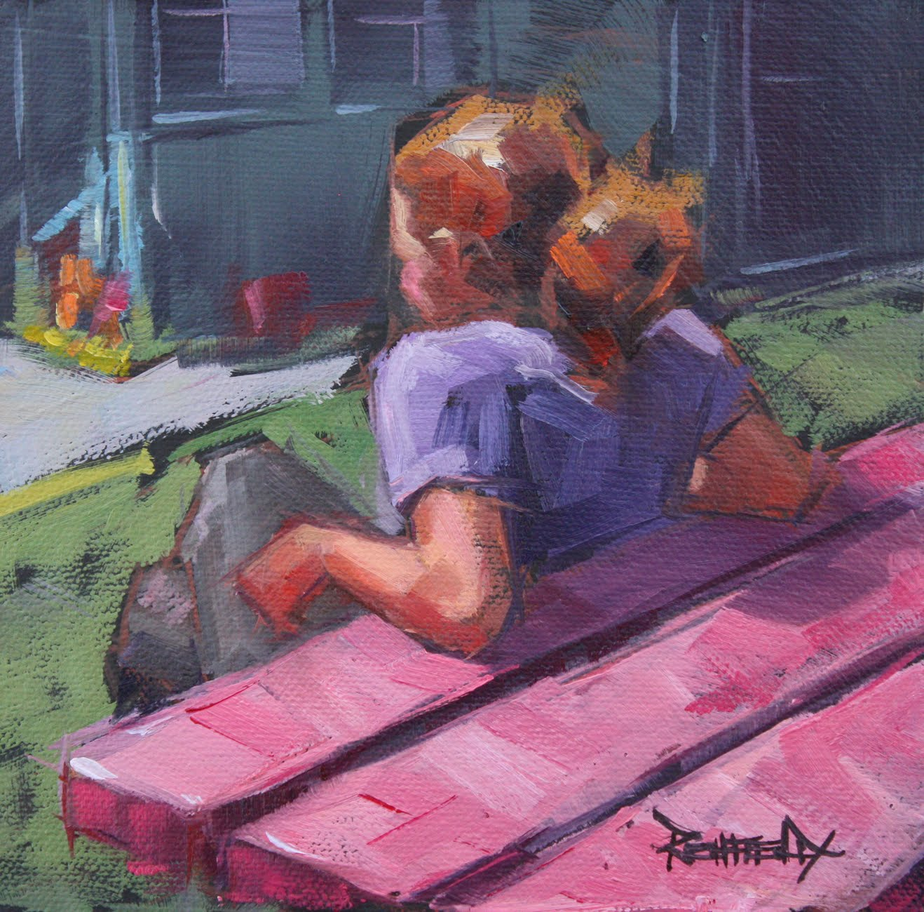 """Pink Picnic Table - Sunny Day at Mike's Ice Cream"" original fine art by Cathleen Rehfeld"