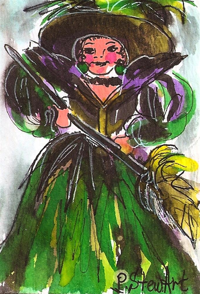 """""""ACEO: Halloween Bright Green Witch Costume wc & pen Original Illustration Not a print"""" original fine art by Penny Lee StewArt"""