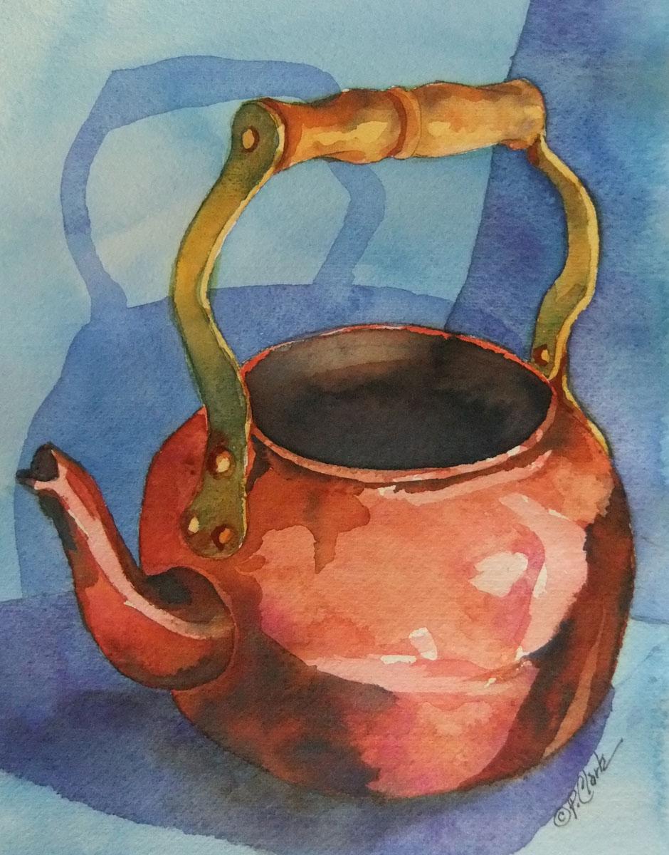 """Copper Teapot on Blue"" original fine art by Donna Pierce-Clark"