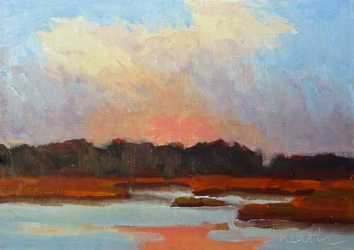 """Wells Marsh Sunset"" original fine art by Bobbi Heath"