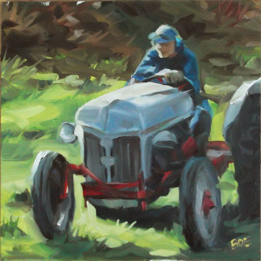 """Grandpa On His Tractor"" original fine art by Karen Boe"