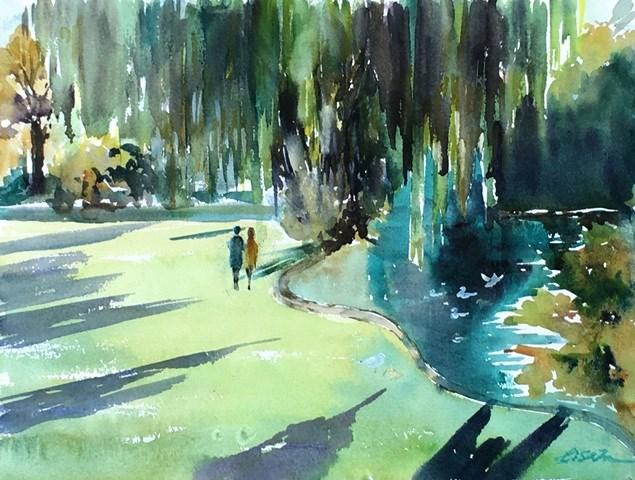 """Peace in the City, Paris"" original fine art by Lisa Fu"