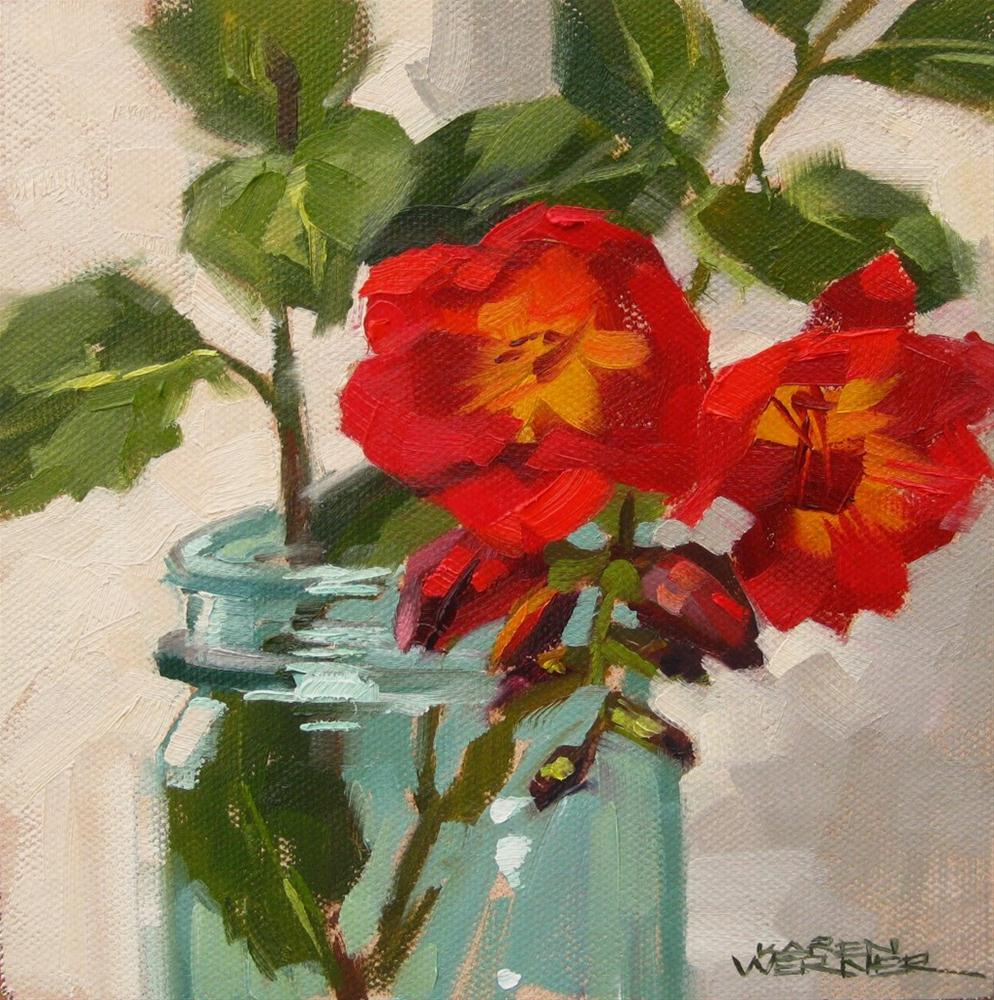 """""""First Freesias"""" original fine art by Karen Werner"""