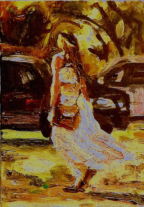 """A girl under the sun"" original fine art by Run-      Zhang Zane"