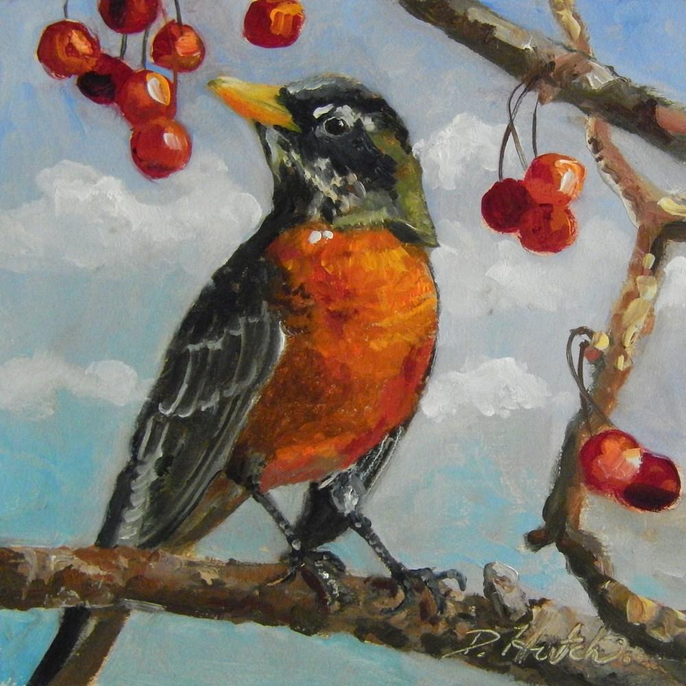 """Robin in Tree"" original fine art by Diane Hutchinson"
