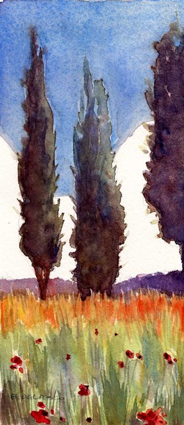 """Watercolor: Province Cypress (& Making Prints with a Pasta Machine)"" original fine art by Belinda Del Pesco"