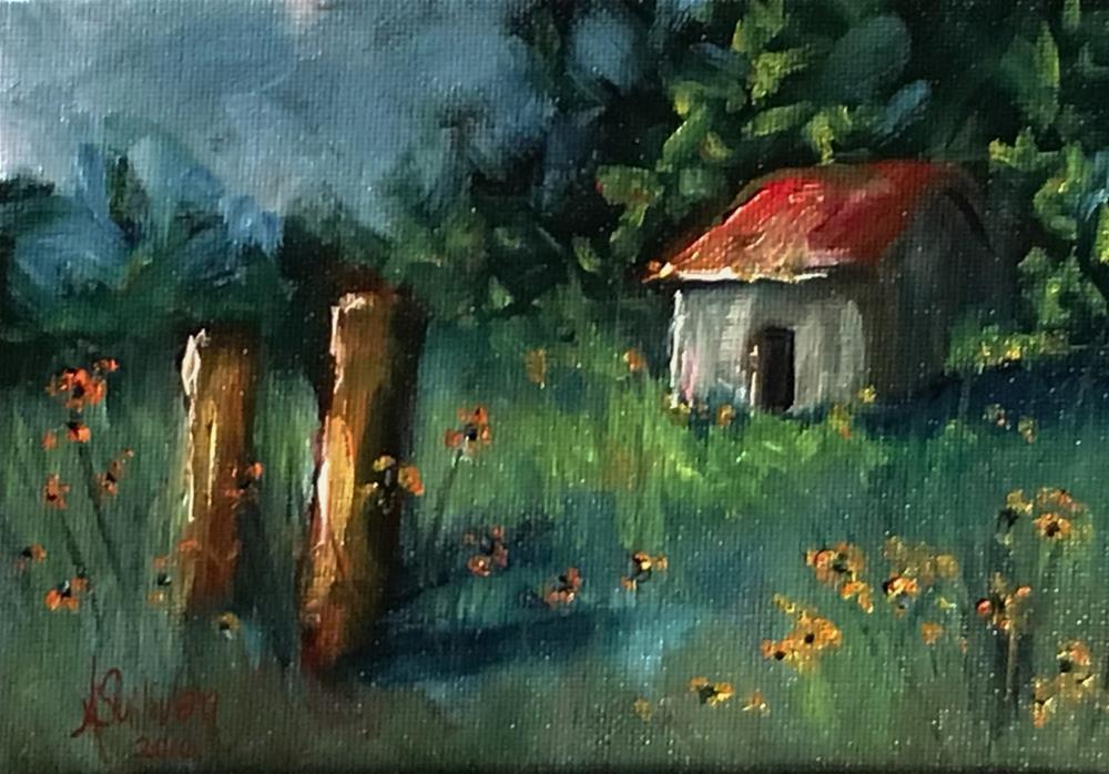 """Daisies In The Meadow landscape painting by Alabama Artist Angela Sullivan"" original fine art by Angela Sullivan"