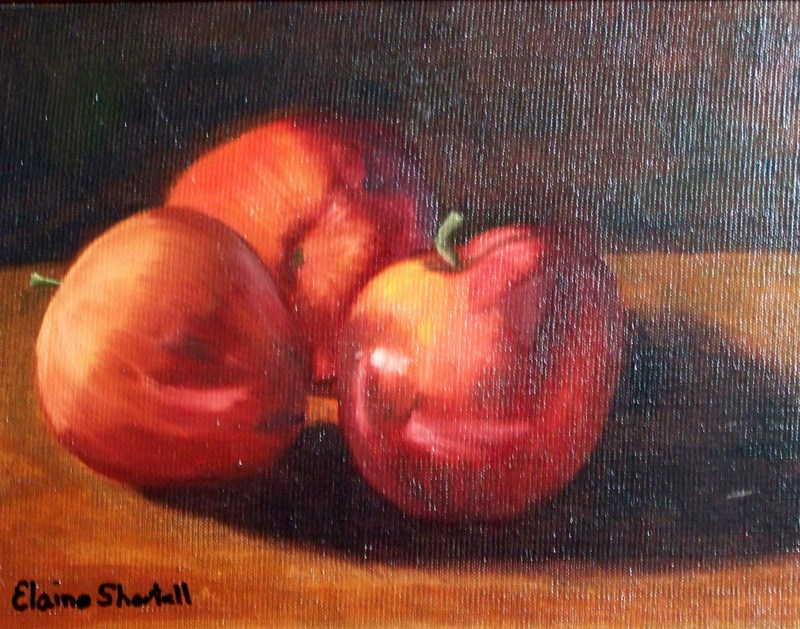 """Reflections on Apples"" original fine art by Elaine Shortall"