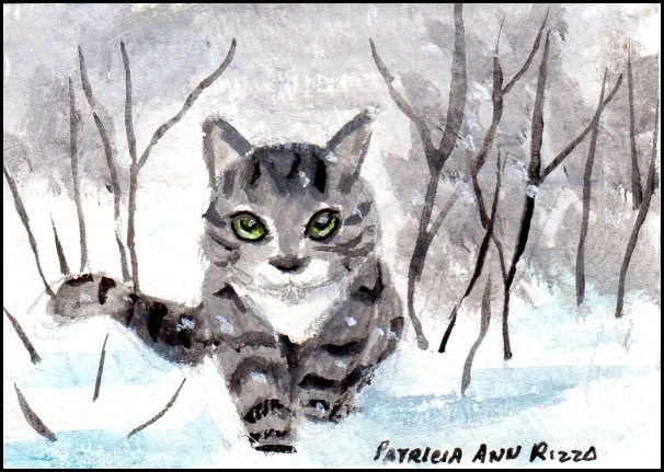 """Gray Tabby Prowling Thru Snow"" original fine art by Patricia Ann Rizzo"