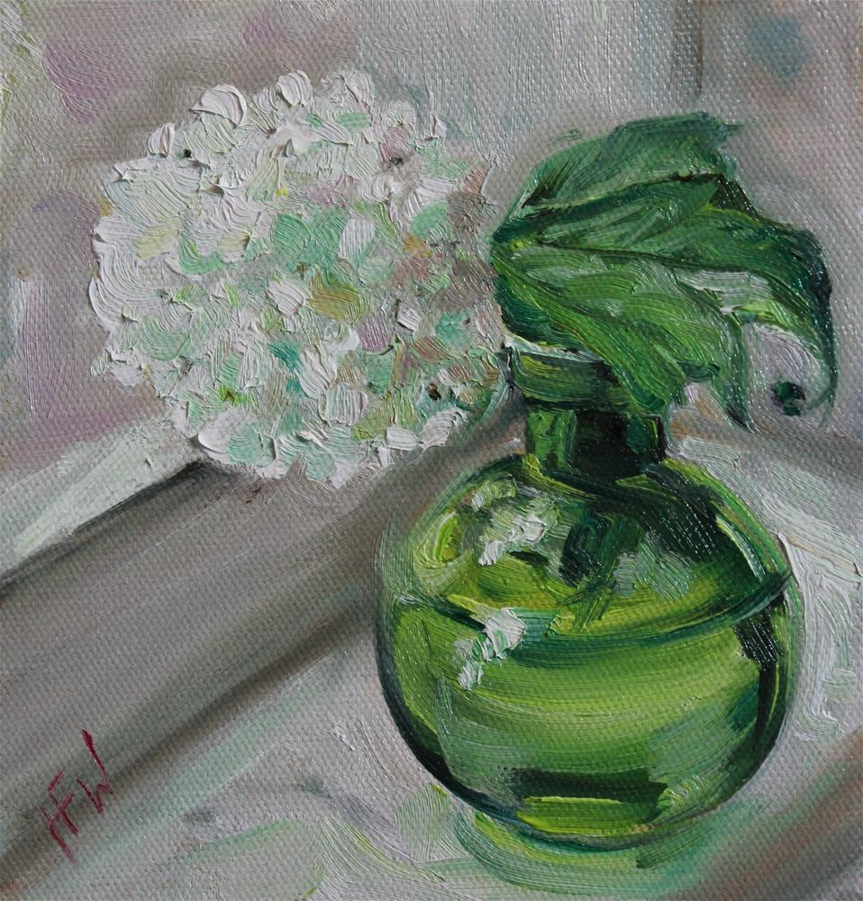"""Snowball and Green Vase"" original fine art by H.F. Wallen"