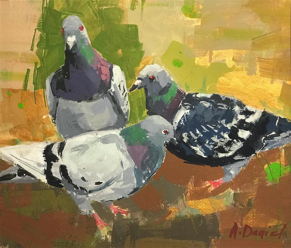 """Pigeons on Grass"" original fine art by Andrew Daniel"