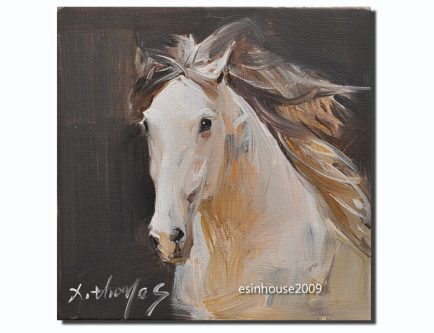 """Western HORSE portrait Original oil Painting Minimalist style The artist signed"" original fine art by Thomas Xie"