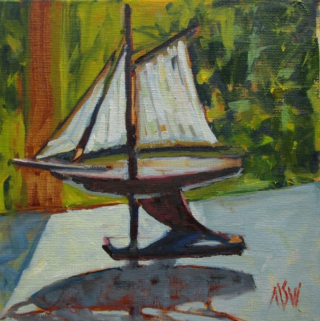 """Ship Model  8x8 on RayMar panel painted at a friend's house. Loved the way the outside light hit the sails."" original fine art by Mary Sheehan Winn"
